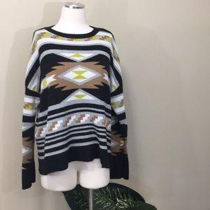 Super cute Aztec slouchy neon sweater, medium
